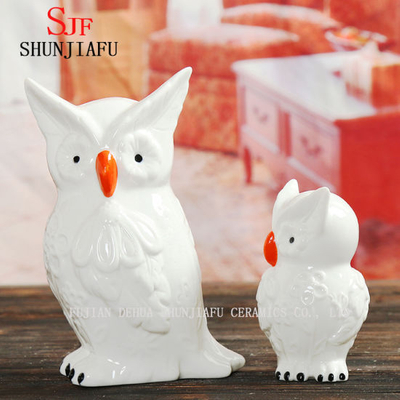 White Ceramic and Red Mouth Cute and Lovely Owl for Living Room Decoration