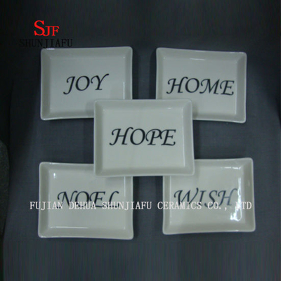 Rectangle Shape Dishes 5 Set& Ceramic Christmas Dishes Appetizer Plates Porcelain Saucers Bowl Dinnerware
