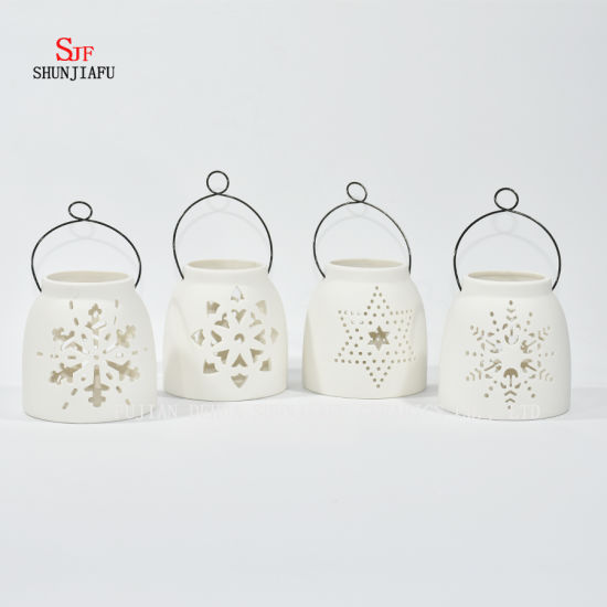 White Ceramic Design Tea Light Storm Lantern - Candle Holder