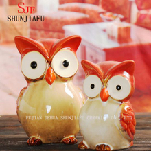 a Pair of Cute Small Ceramic Owl Craft