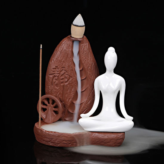 Originality Yoga Ceramic Smoked Backflow Incense Burner Censer Incense/B
