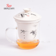 Creative Transparent Mug Glass & Ceramic Tea Infuser Cup