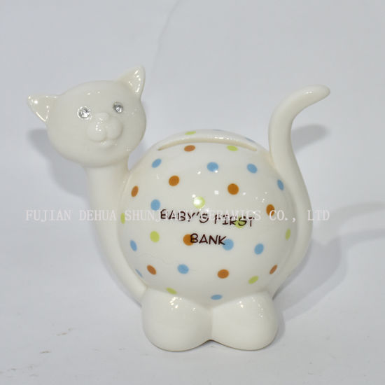 Kitten Shape Piggy Bank with Color Wave DOT