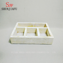 Customized Rustic Style Realistic Artificial Succulent Plants Brown Wood Square Planter Pots Rectangular Tray