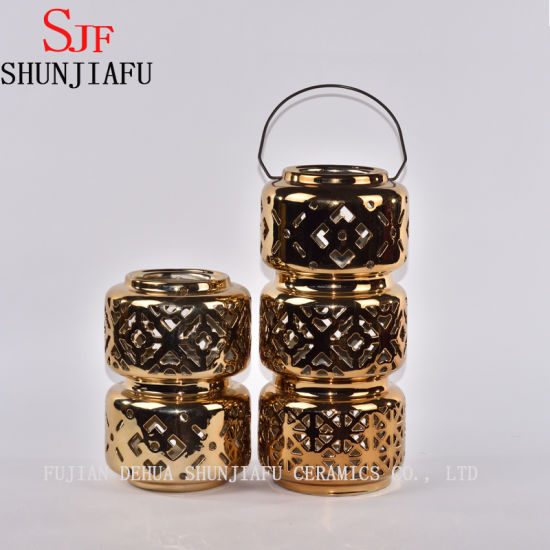 Ceramic Lantern with Metal Handle Gloss, Gold