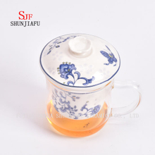 Office and Home Flower Tea Cup, Ceramic Filter and Borosilicate Glass Cup Combine, Glass Tea Cups with Lid