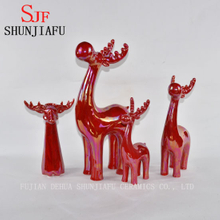 Ceramic Deer for Home Decoration Pearl Glazed Finish Red