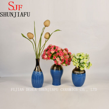 High-End Style Small Ceramic Flower Vase for Home Decoration (Blue)