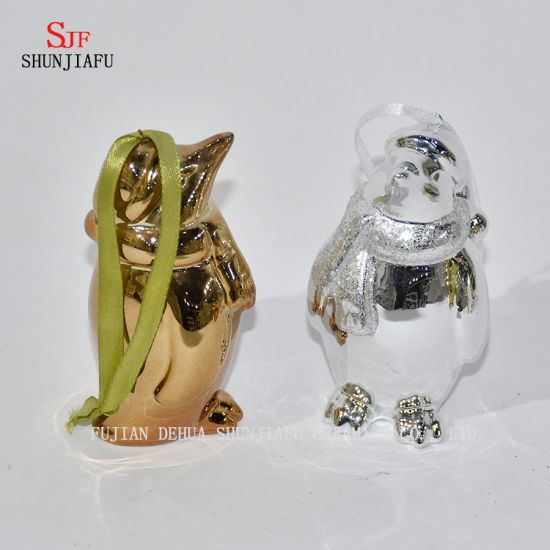 Cute Penguin for Family/Office/Coffee/Festival Decoration/Electroplating Ceramic/B