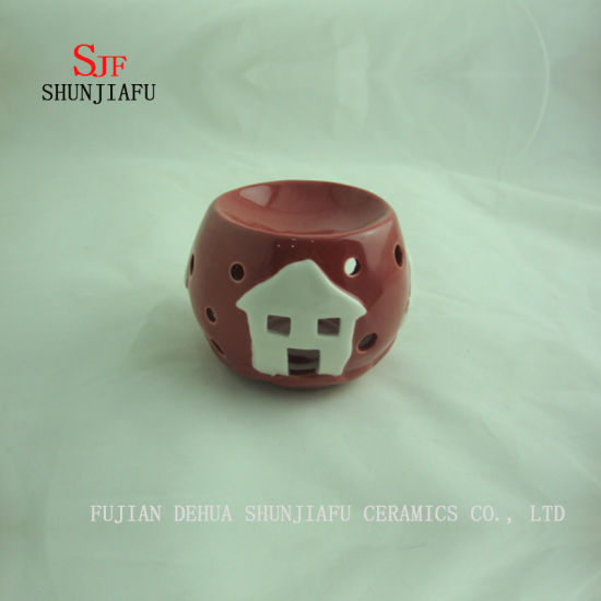 Round Shape, Incense Burner for Essence Ceramic (RED) /a