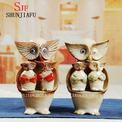 Creative Owl Pottery Harmonious for Home Decoration