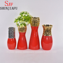 Morden Style Small Ceramic Flower Vase for Home Decoration (Red)