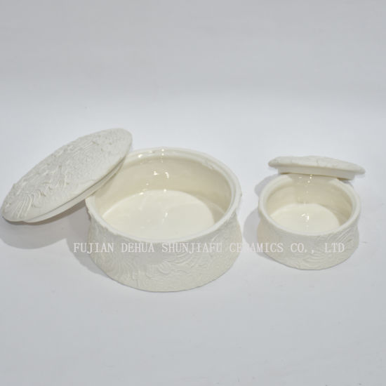 Decorative Raised Rounded Design White Ceramic / Dresser Top Jewelry Holder