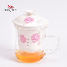 Heat - Resistant Glass Flower Cup Ceramic Liner Filter on Office Transparent Cups Covered, 400ml