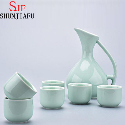 Ceramic Green Sake Set for Home Decoration