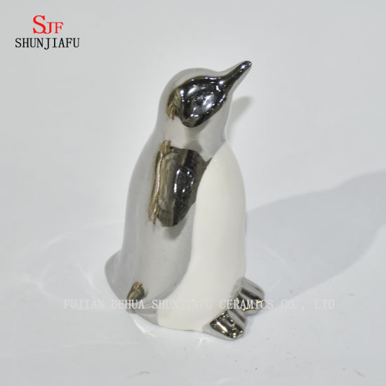 Cute Penguin for Family/Office/Coffee/Festival Decoration/Electroplating Ceramic/a