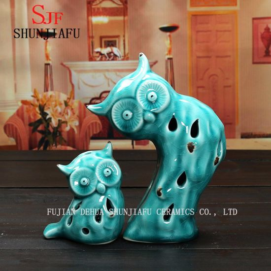 Decorative Ceramic Owl LED, Blue with Well Design