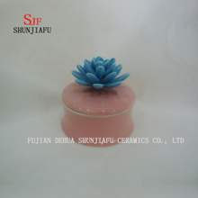 Ceramic Jewelry Box with Blue Rose Flower Lid