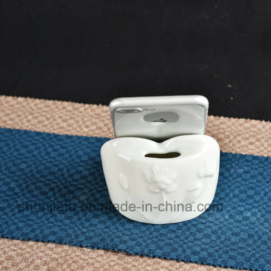 Hand Drawing Ceramic Vase Type Mobile Phone Holder
