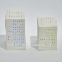 Modern Architecture Shape Candle Choice, Multi-Color Flameless LED Votive Candles with Button Switch/Ceramic