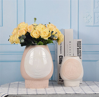 Home Decoration Abstract Faces Decorative Vases Ceramic relief face Ceramic Face Vase