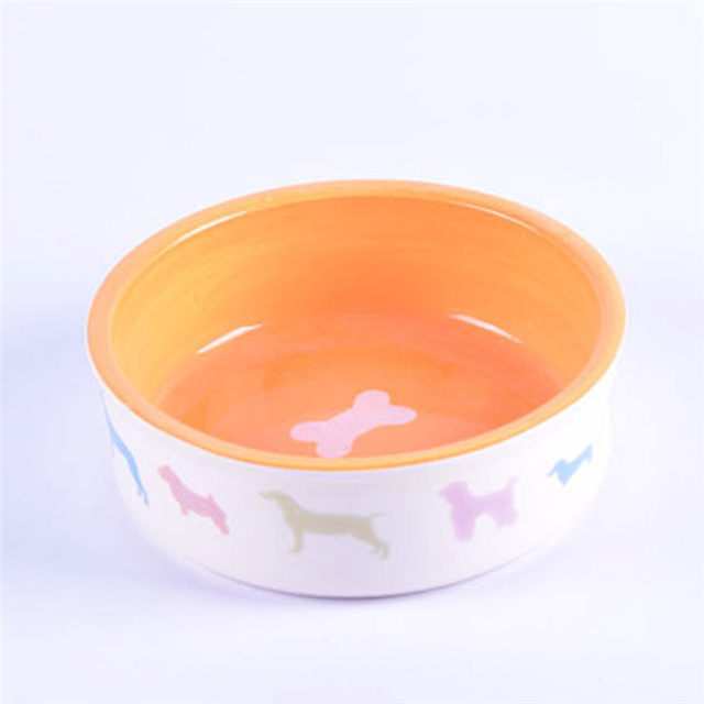 bowl outside printed dog Pink bowl bottom printing bones Pictures Ceramic Pet Feeder Ceramic Dog Bowl