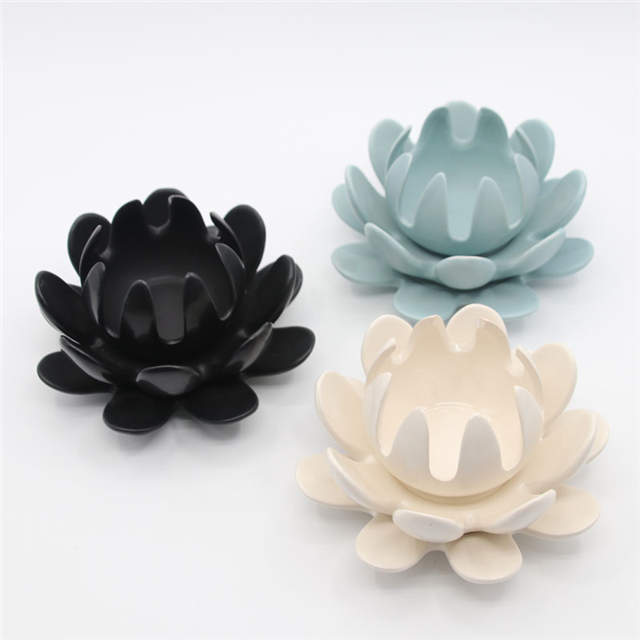 White Ceramic Lotus Candle Stand Ceramic Flower Candle Holder