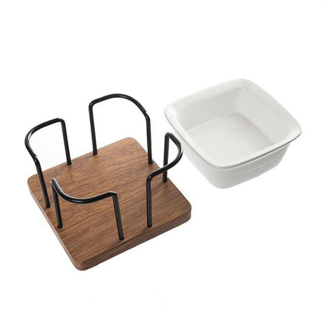 Pet ceramic bowl wood base shelf pet bowl cat bowl dog bowl