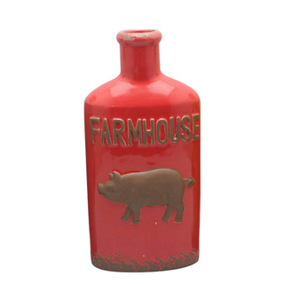 Ceramic Various Styles Wine Bottle Design Red Relief Pig style Wine Bottle Style Ceramic Vase