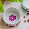 with Circular Printed Small flower printed on the bottom of bowlceramic Dog feed ceramic pet feeder green ceramic Dog bowl