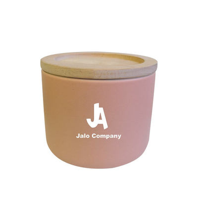 Pink ceramic pot with Bamboo lid Ceramic candle jar