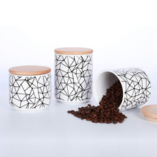 With Bamboo Lid Store Candy Cookies Coffee Printed Strip Pattern Ceramic Jar