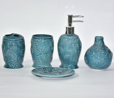 Sea Style Set Five Bathroom Sanitary Bathroom Accessories Ceramic Bathroom Accessory Set
