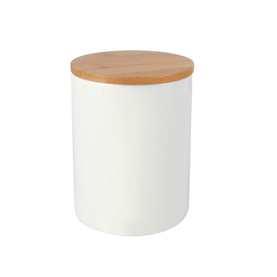 White ceramic pot With bamboo lid Store candy cookies coffee Ceramic jar