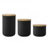 black ceramic pot With bamboo lid Store candy cookies coffee Ceramic jar