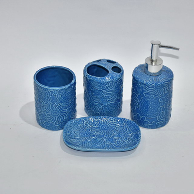 Blue Style Set Four Bathroom Sanitary Accessory Bathroom Accessories Bathroom Set Ceramic