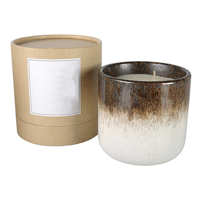 two colors top brown and bottom white Round ceramic candle cups