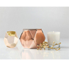 with electroplated golden and Rose Gold rhombus ceramic candle cup