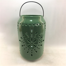 Home Furnishing Decorationgreen Ceramic Cylinder Strip Shape Style Hollowing Out Hurricane Ceramic Lantern