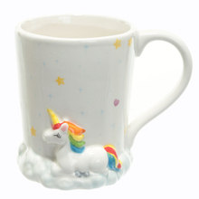 Waves at the bottom stand Animal Unicorn of ceramic coffee cup