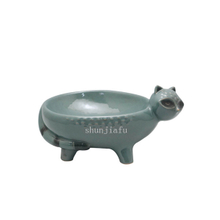 Gray Brown Four Leg Ceramic Fox Bowl