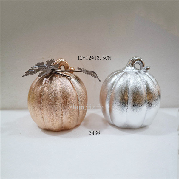 Golden Ceramic Pumpkins Ceramic Silvery Pumpkin Decorations for outside