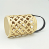Home Furnishing Decoration Light Yellow Ceramic Cylinder Strip Shape Style Hollowing Out Hurricane Ceramic Lantern