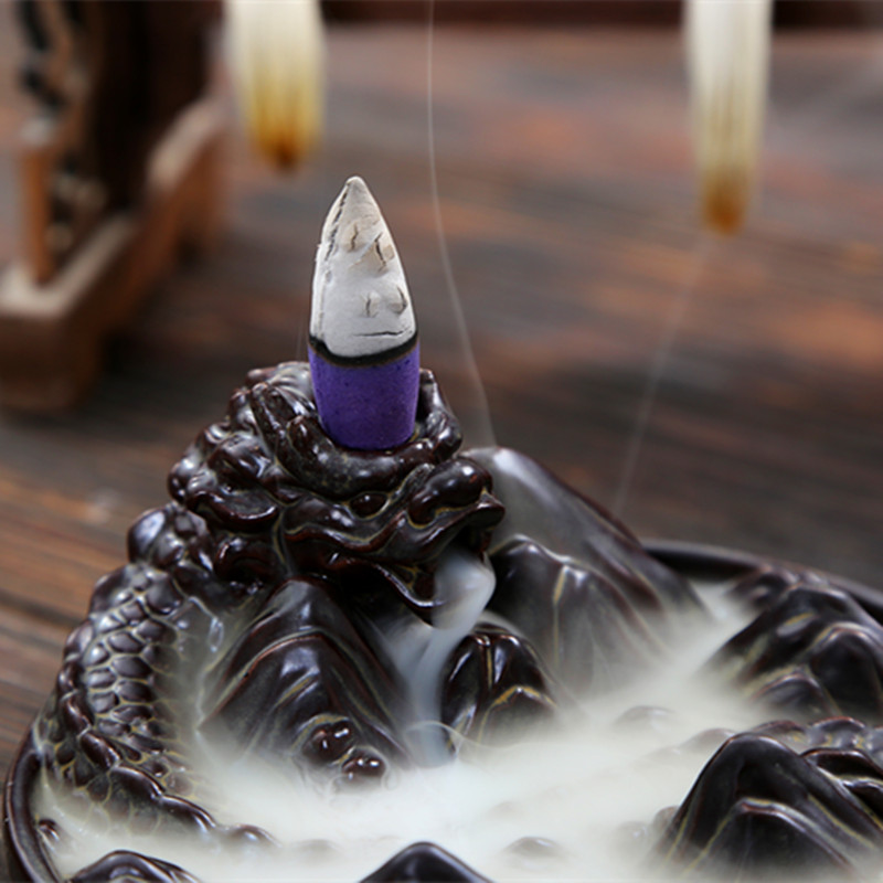 Thread Incense Socket Ceramic Waterfall Reflux Incense dragon faces disc play dragon Ceramic Fingered Citron Dragon Backflow Incense Burner