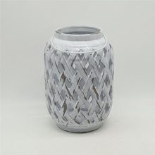 Home Furnishing decoration Light grey ceramic cylinder Pumpkin style Hollowing out Hurricane lantern